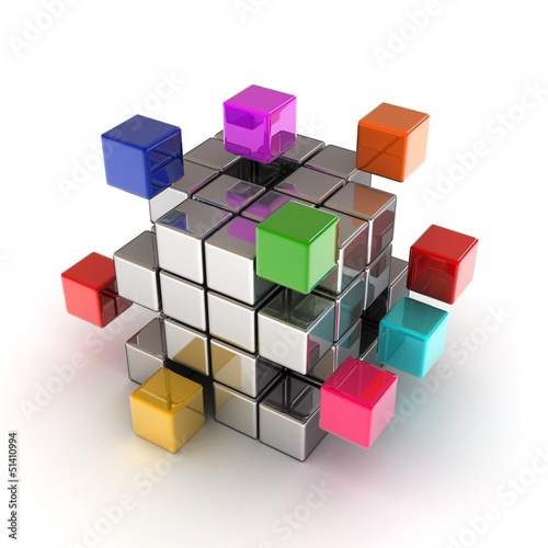 The construction of the cube of the blocks