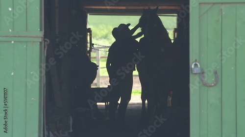 guy and woman washing a horse in the stables after dressage