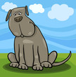 cute big gray dog cartoon illustration