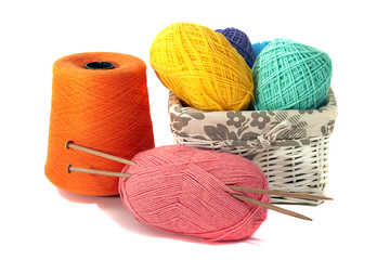 Accessories for knitting on a white background