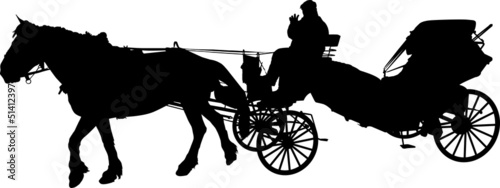 Silhouette of a horse put to a cart