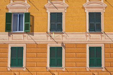 Italian colorful building with painted Plaster