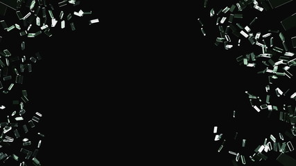 Cracked and Shattered black glass with slow motion. Alpha