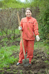 woman working with shovel