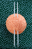 Hank orange thread and two needles on a green background poster