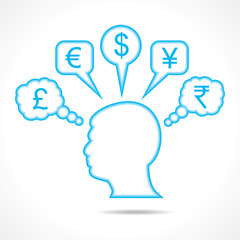 man thinking about currency stock vector