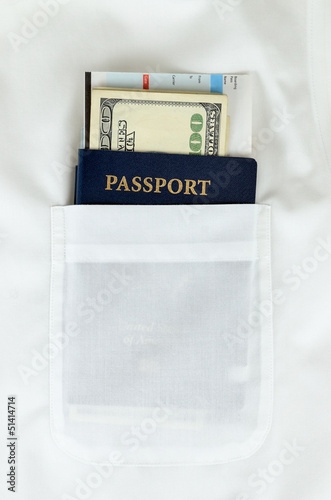 Passport, money and boarding pass