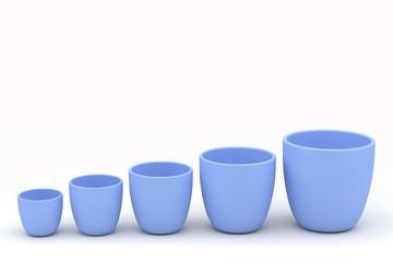 Various size ceramics flowerpot set, rendered models