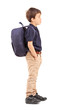 Full length portrait of a school boy with backpack standing