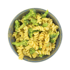 Pasta in cheese sauce with broccoli