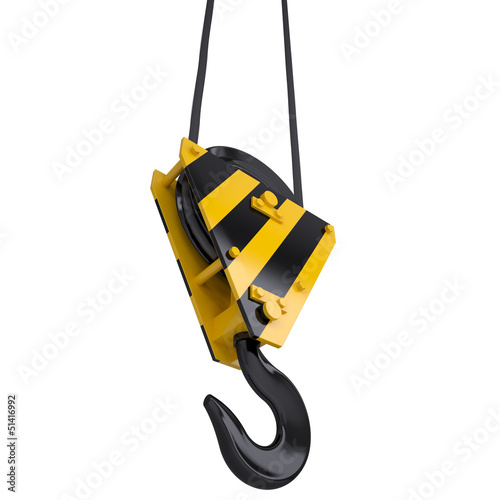 Crane hook with rope