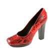 Python square toe red high heel