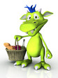 Cute cartoon monster holding a picnic basket.