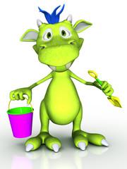 Cute cartoon monster holding a bucket and a spade.