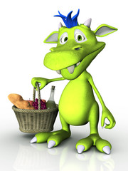 Cute cartoon monster holding a picnic basket.