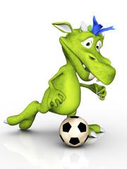 Cute cartoon monster playing soccer.