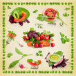 Background of vegetables on textured paper (Print on a napkin)