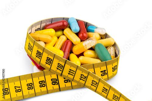 Tabletten und Maßband