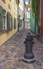 Narrow medieval street in the old Riga city, Latvia