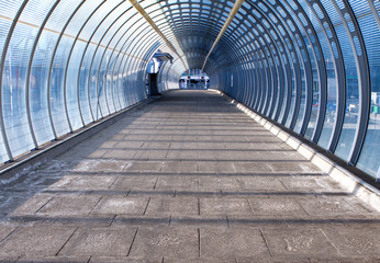 footpath and tunnel made of glass