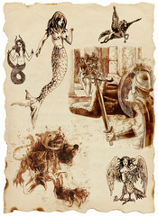 A large series of mystical creatures on an old sheet of paper