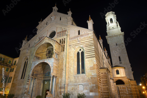Verona Cathedral at Night- Veneto Italy