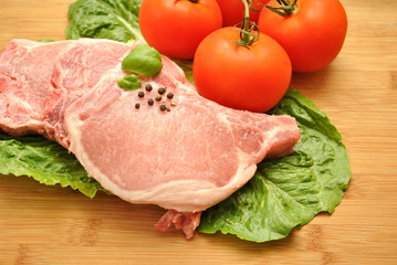 Raw Pork Chops and Tomatoes