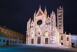 Siena Cathedral Duomo landmark, night photography. Tuscany, Ital