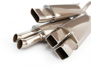 exhaust silencer automobile muffler. on a white background