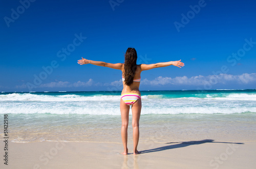 woman relaxes on the beach