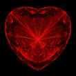 Fractal flame background. Red heart with angel.