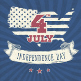 Vintage styled independence day poster. Vector, EPS10