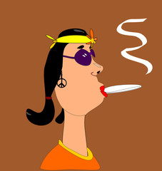 hippie female smoking marijuana