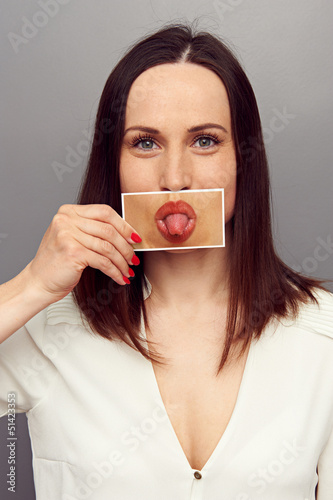 woman put out tongue
