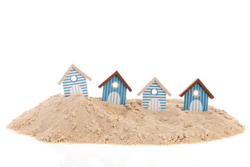 Beach huts in the sand