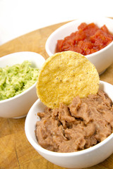 Food Appetizers Chips Salsa Refried Beans Guacamole Wood Cutting