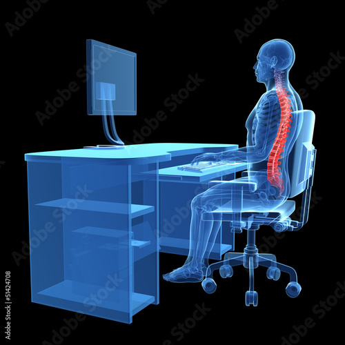 3d rendered medical illustration - correct sitting posture