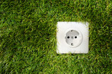 Outdoor electrical socket in green grass