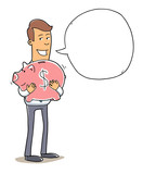 happy business man / investor holding a piggy bank poster