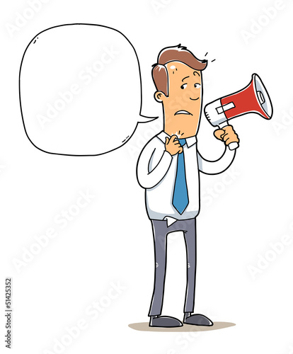 nervous public speaker. confused man with a megaphone