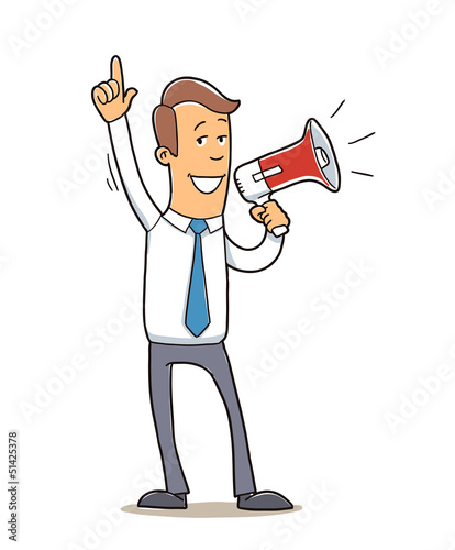 confident business man with megaphone