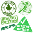 Set of healthy option grunge rubber stamps