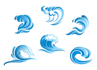 Set of blue surf ocean waves