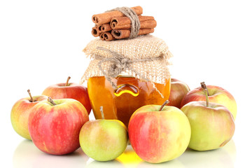 Honey and apples with cinnamon isolated on white
