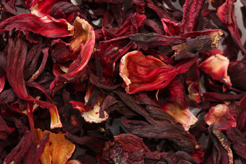 aromatic Hibiscus tea, close up