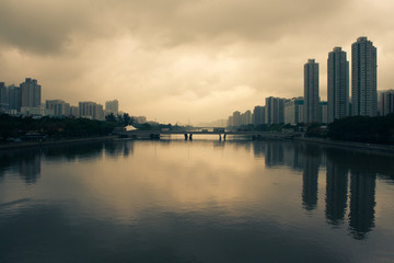 smog over Shing Mun river