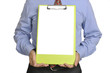Businessman Holding Clipboard