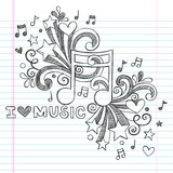 Fototapety Music Note I Love Music Back to School Sketchy Doodle Vector