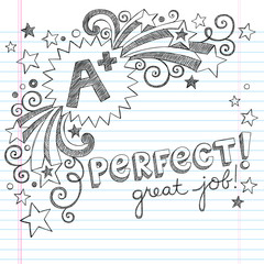 A Plus Great Student Sketchy School Doodle Vector
