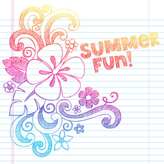 Hibiscus Summer Fun Tropical Vacation Sketchy Doodles Vector